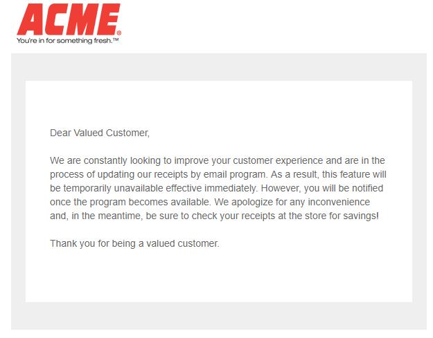 Acme Digital Receipt Outage Jerseycouponmom Com